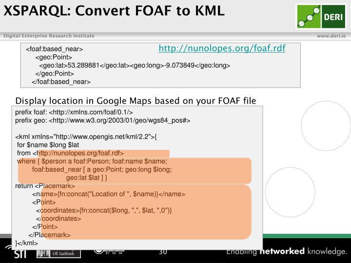 XSPARQL: Convert FOAF to KML