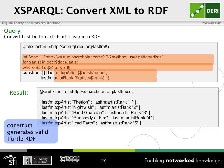 XSPARQL: Convert XML to RDF