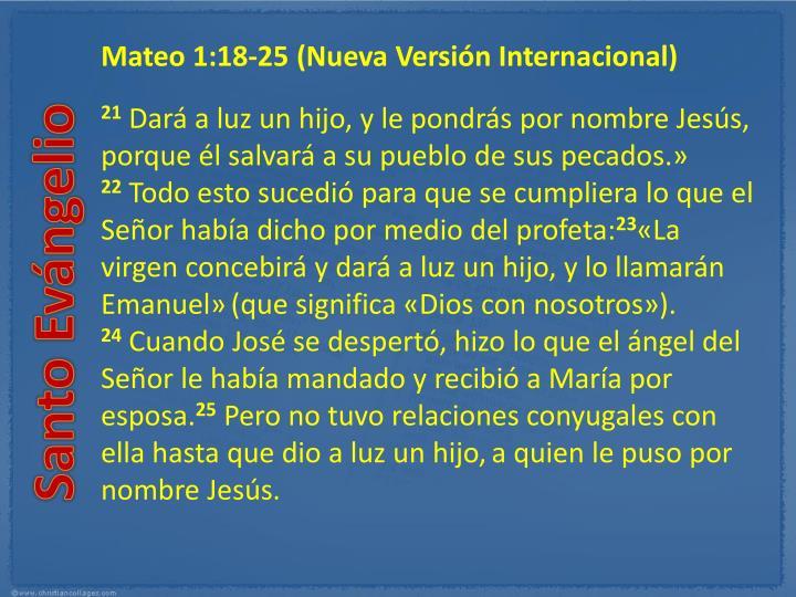 Mateo 1:18-25(Nueva Versión Internacional)