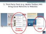 5 third party tools e g meebo toolbar will bring social networks to websites