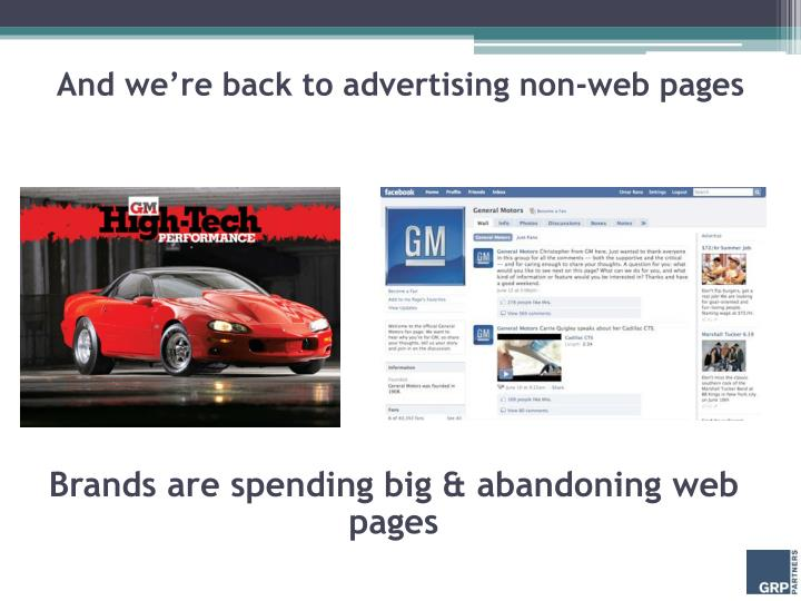 And we're back to advertising non-web pages