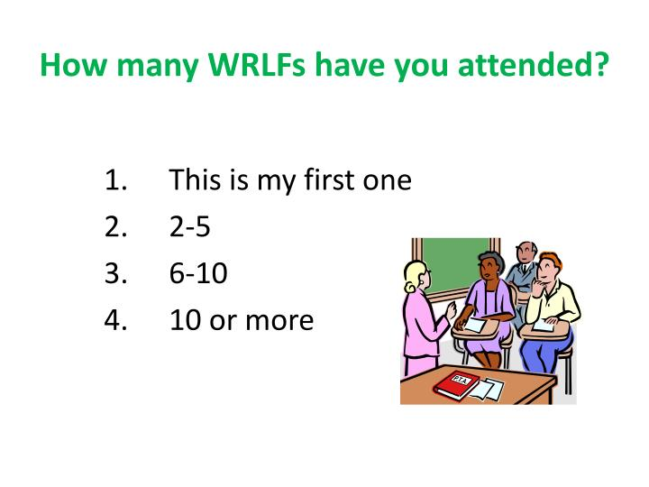 How many WRLFs have you attended?