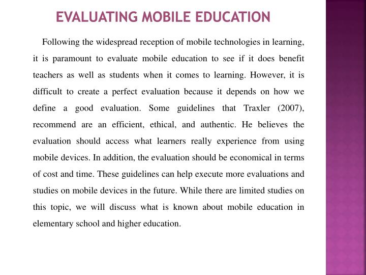 Evaluating Mobile Education