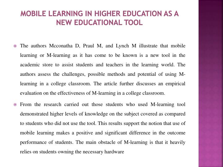 Mobile learning in higher education as a new educational tool
