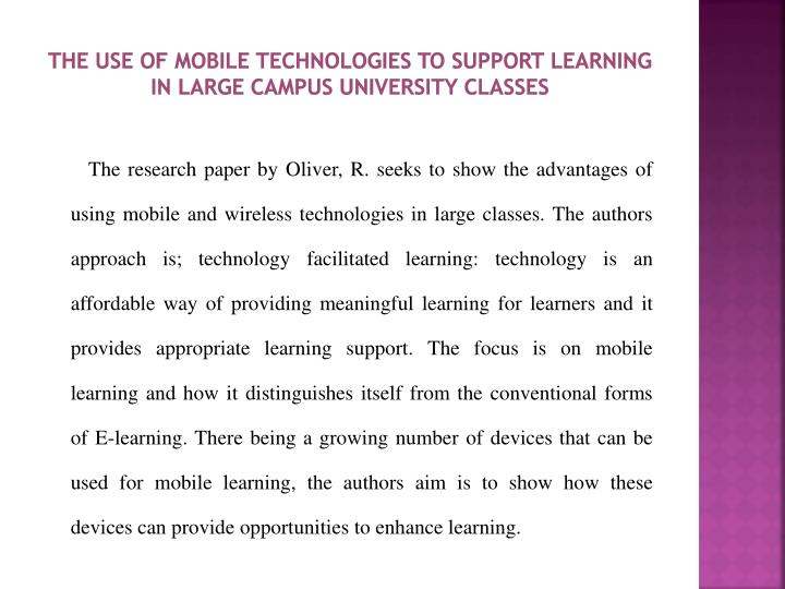 The use of mobile technologies to support learning in large campus university classes