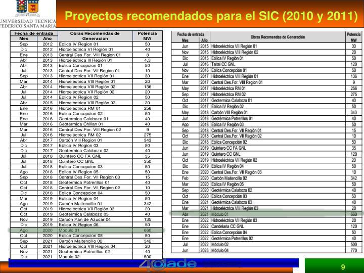 Proyectos recomendados para el SIC (2010 y 2011)