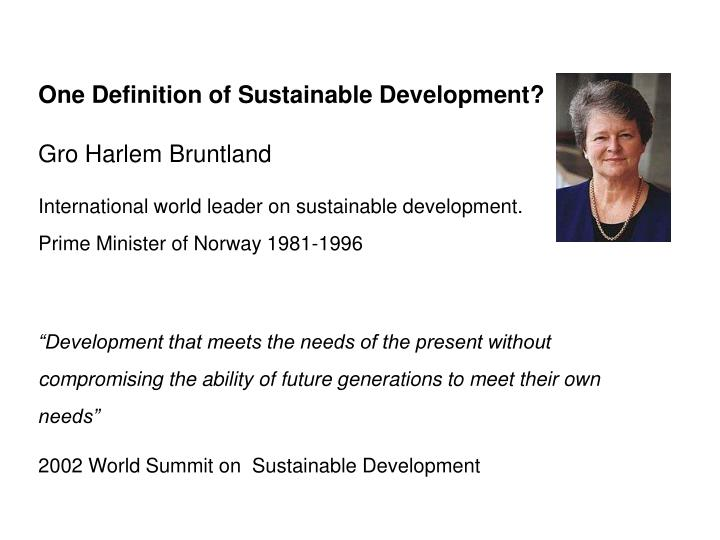 One Definition of Sustainable Development
