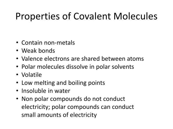 Properties of Covalent Molecules