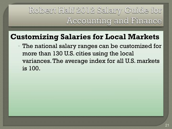 Robert Half 2012 Salary Guide for Accounting and Finance