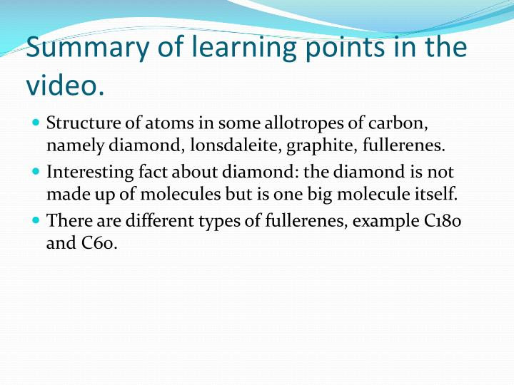 Summary of learning points in the video.