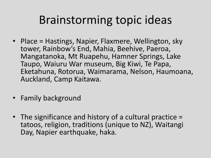 Brainstorming topic ideas