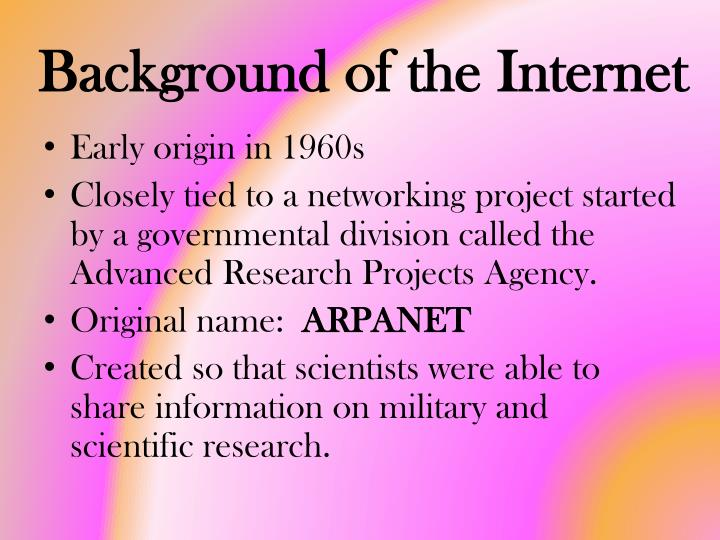 Background of the internet