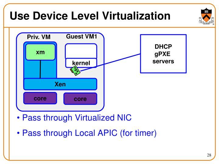 Use Device Level Virtualization