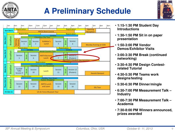 A Preliminary Schedule