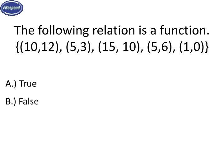 The following relation is a function.