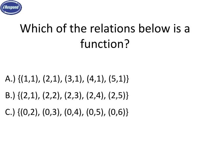 Which of the relations below is a function?