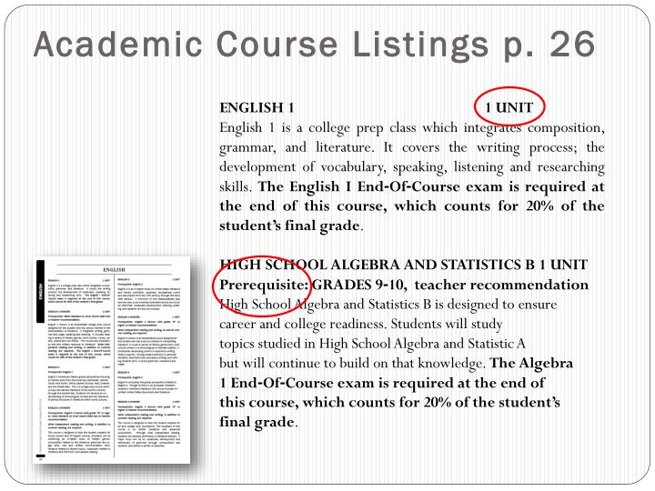 Academic Course Listings p. 26
