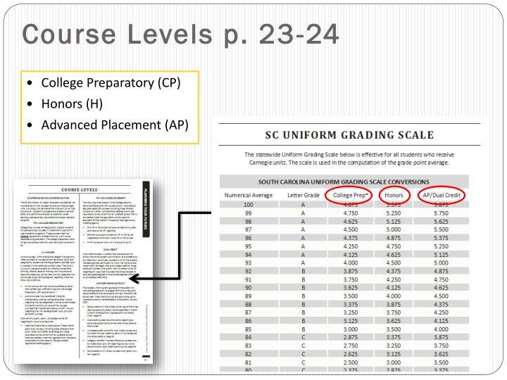 Course Levels p. 23-24