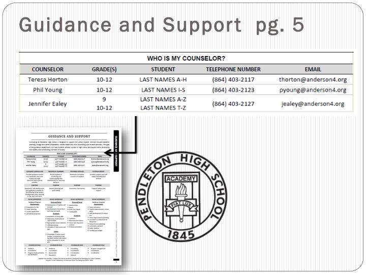 Guidance and support pg 5