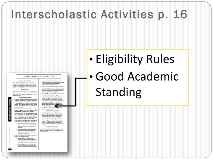 Interscholastic Activities p. 16