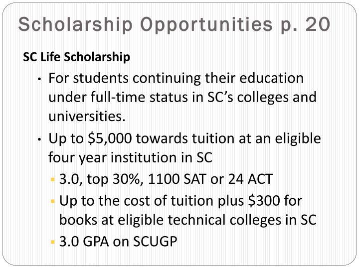 Scholarship Opportunities p. 20
