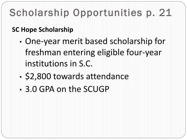 Scholarship Opportunities p. 21
