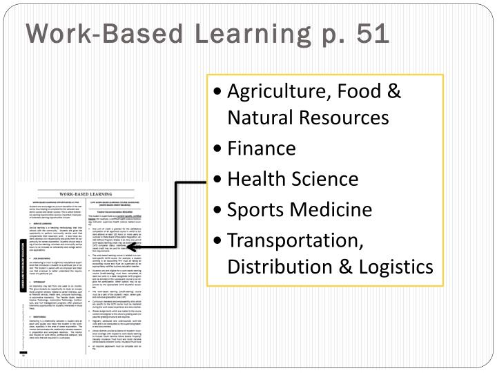 Work-Based Learning p. 51