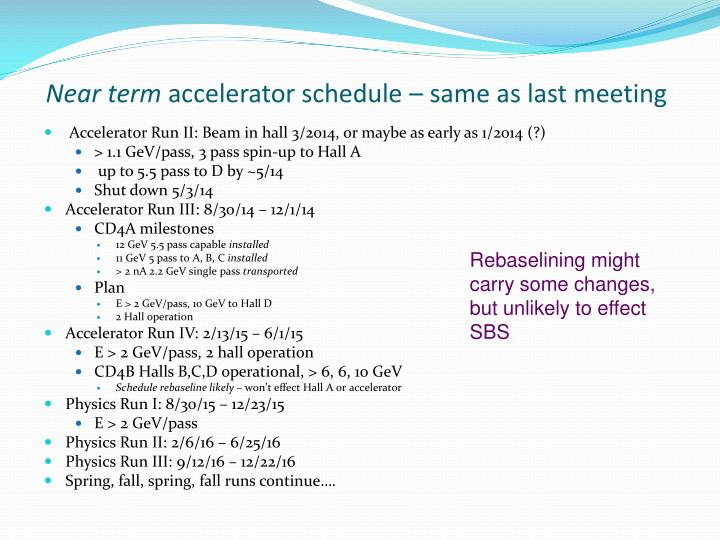 Near term accelerator schedule same as last meeting