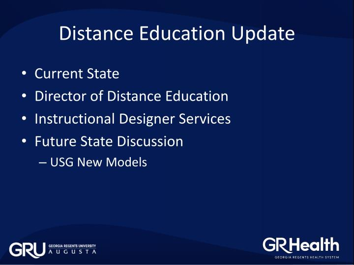Distance Education Update