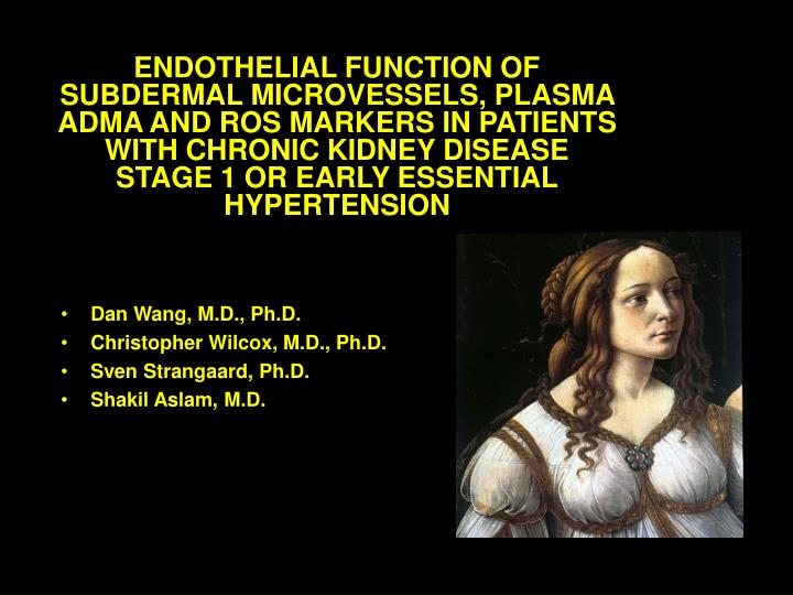ENDOTHELIAL FUNCTION OF SUBDERMAL MICROVESSELS, PLASMA ADMA AND ROS MARKERS IN PATIENTS WITH CHRONIC KIDNEY DISEASE STAGE 1 OR EARLY ESSENTIAL HYPERTENSION