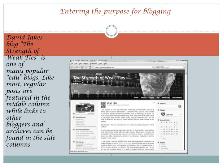 Entering the purpose for blogging