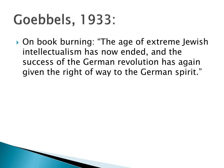 Goebbels, 1933: