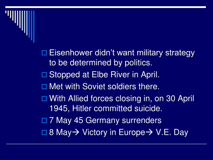 Eisenhower didn't want military strategy to be determined by politics.