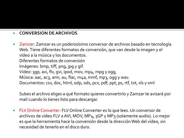 CONVERSION DE ARCHIVOS