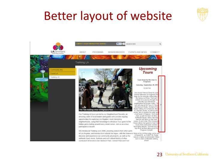 Better layout of website