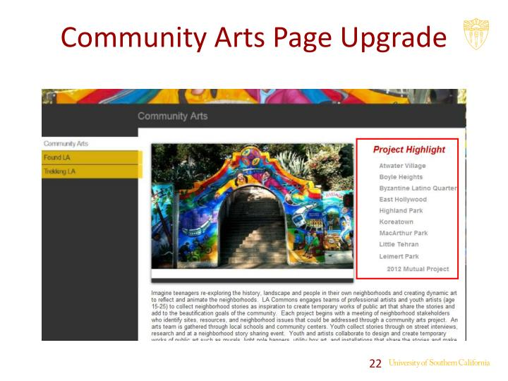 Community Arts Page Upgrade