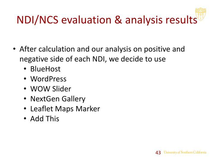 NDI/NCS evaluation & analysis results