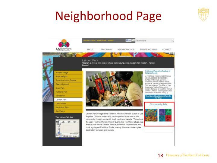 Neighborhood Page