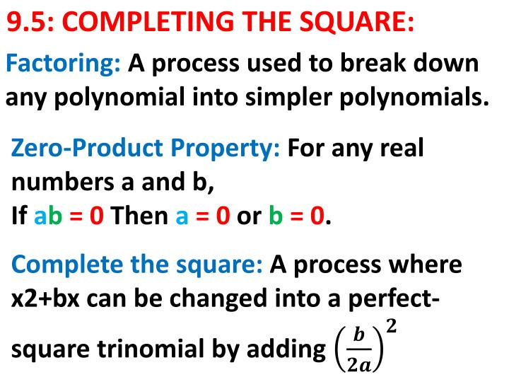 9 5 completing the square