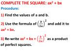 complete the square ax 2 bx