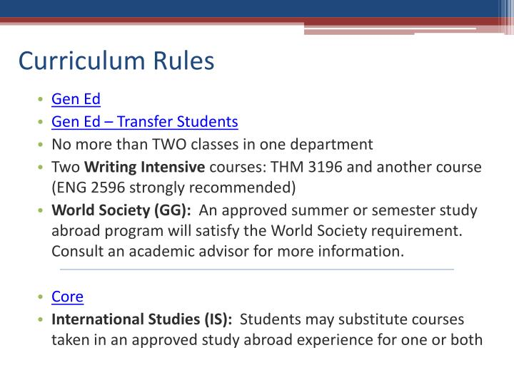 Curriculum Rules