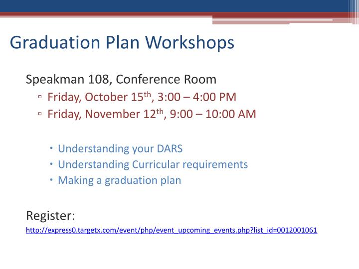 Graduation Plan Workshops
