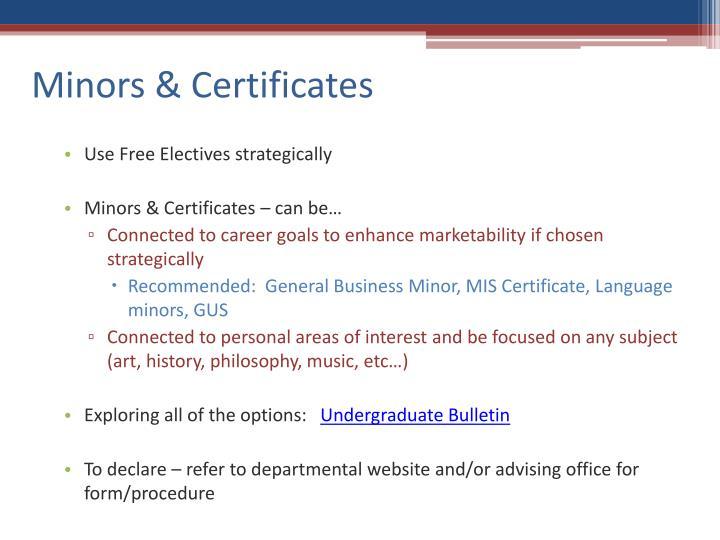 Minors & Certificates