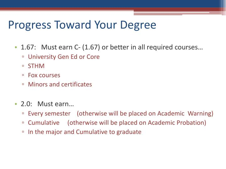 Progress Toward Your Degree