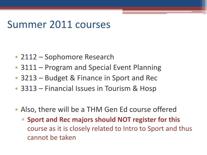 Summer 2011 courses