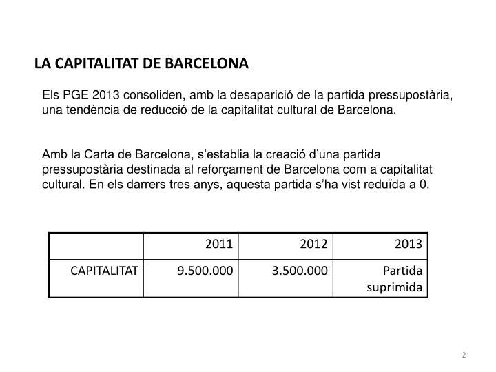 LA CAPITALITAT DE BARCELONA