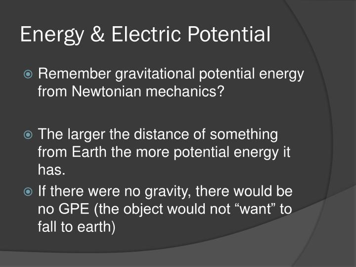 Energy & Electric Potential