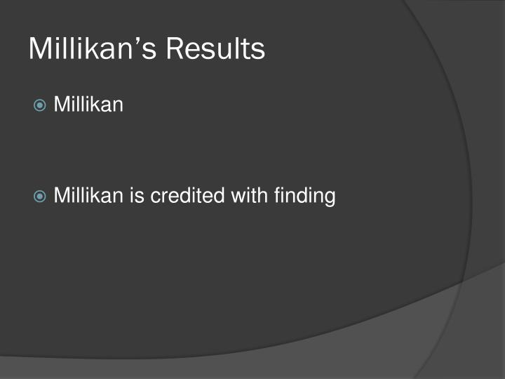 Millikan's Results