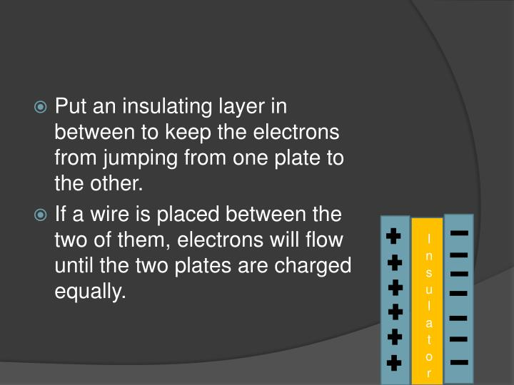 Put an insulating layer in between to keep the electrons from jumping from one plate to the other.