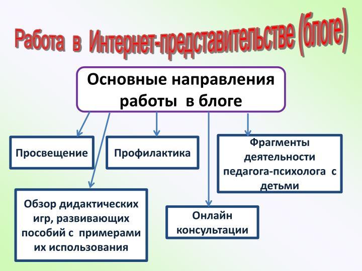 Работа  в  Интернет-представительстве (блоге)